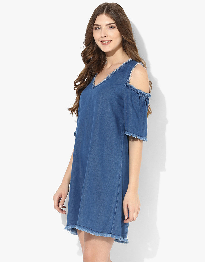 Denim Blue Cold Shoulder Frayed Dress