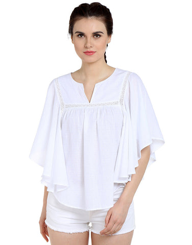 White Cotton Dobby Butterfly Sleeve Top