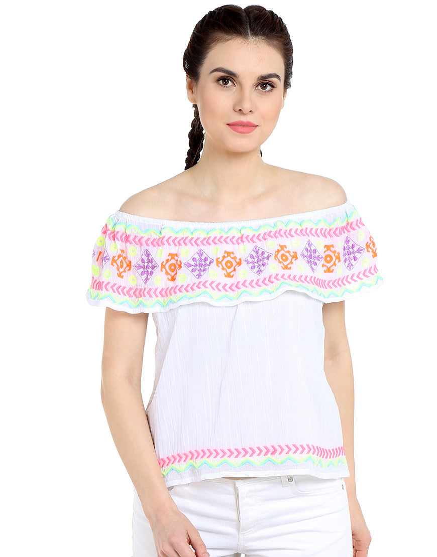 White Cotton Off Shoulder Top With Embroidered Flap