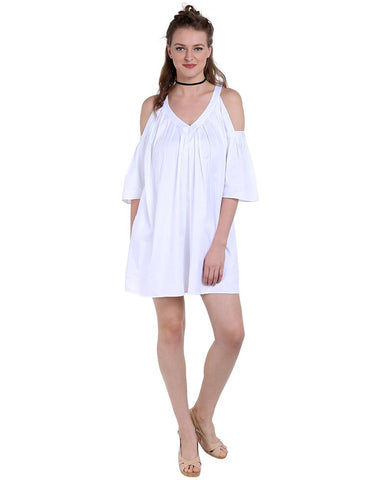 White Cotton Satin Casual Short Dress