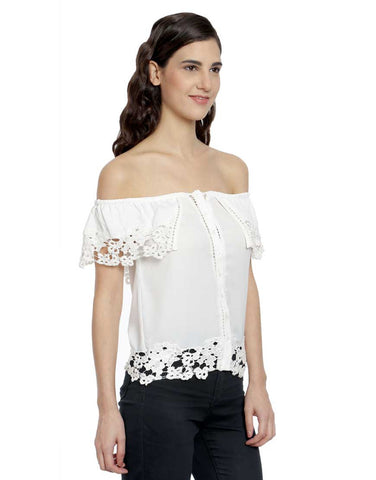 Ivory Crepe Off Shoulder Top With Lace Details