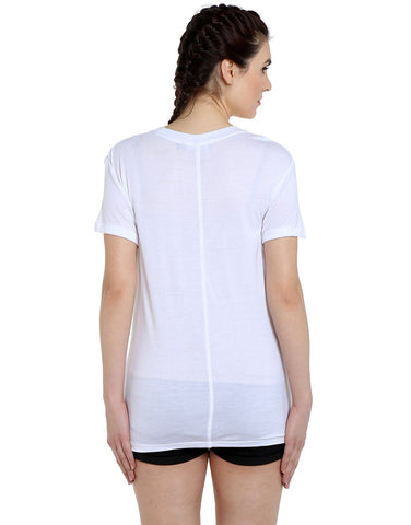 White Viscose Jersey Short Sleeve Popcorn T-Shirt
