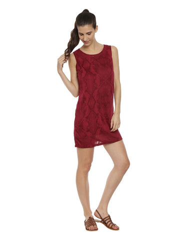 Wine Sleeveless Reptile Print Shift Dress