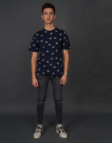 All Over Headphone Print Navy T-shirt
