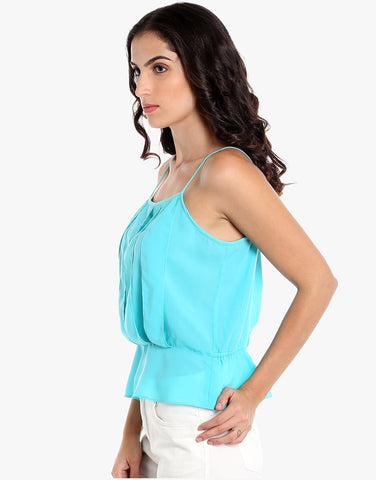Aqua Poly Crepe Strappy Top