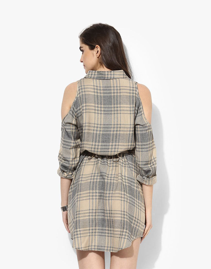 Beige Viscose Plaid Shirt Dress