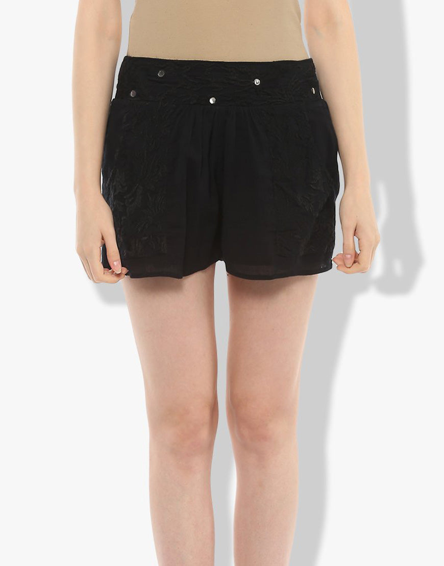 Black Cotton Crepe Embroidered Shorts