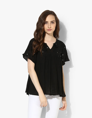 Black Cotton Crepe Embroidered Top