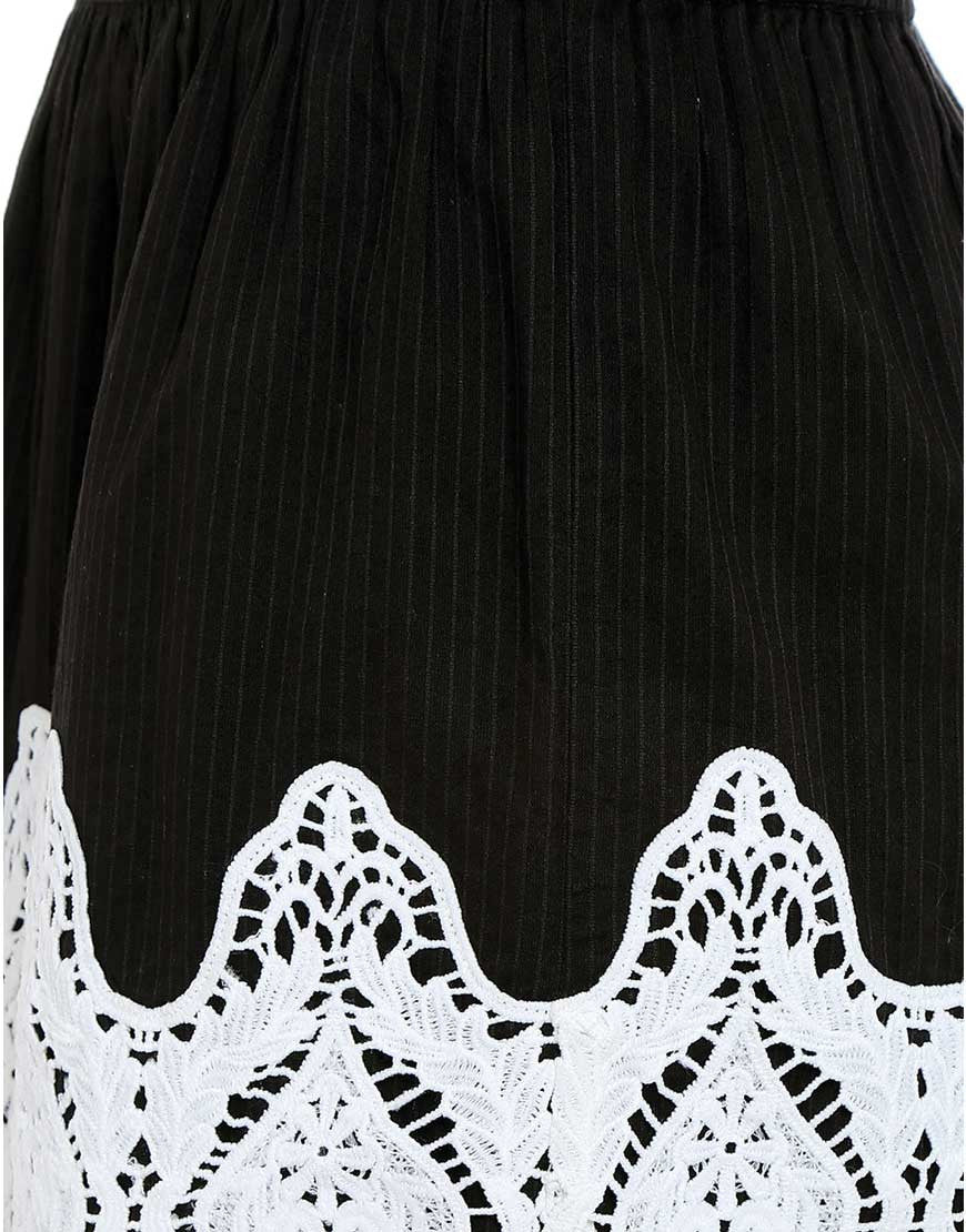 Black Cotton Dobby Skirt