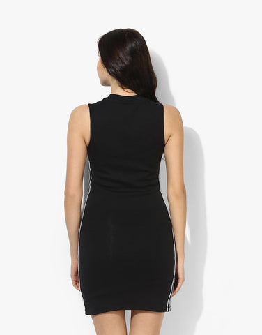 Black Cotton Lycra Fitted Dress