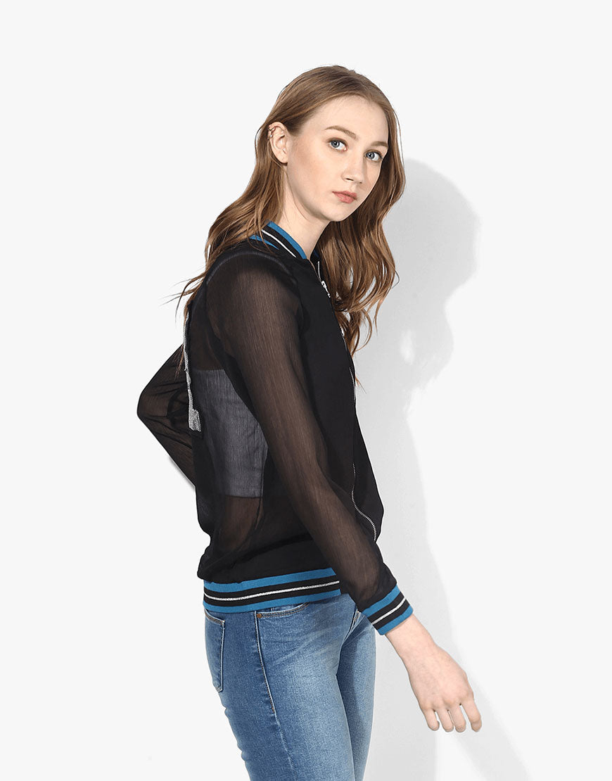 Black Poly Chiffon Bomber Jacket