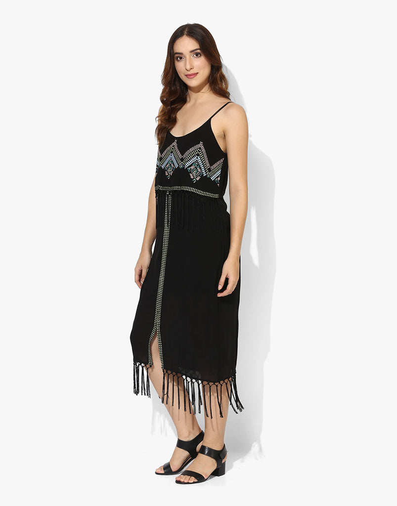 Black Rayon Crepe Embroidered Midi Western Dress Online Shopping