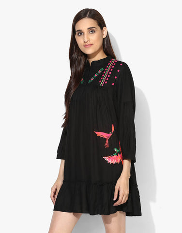 Black Rayon Embroidered Tent Dress