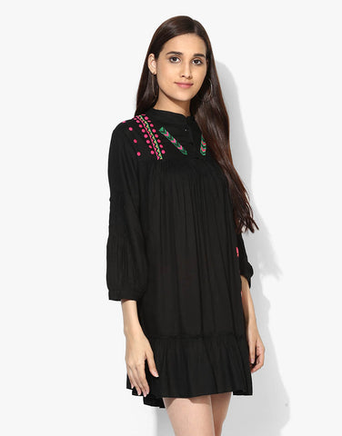 7d9b1e9f01 Black Rayon Embroidered Tent Dress - Love Genration