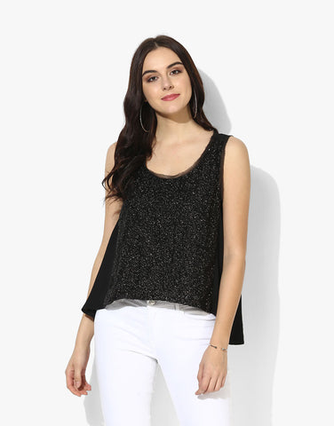 Black Sequins Sleeveless Top