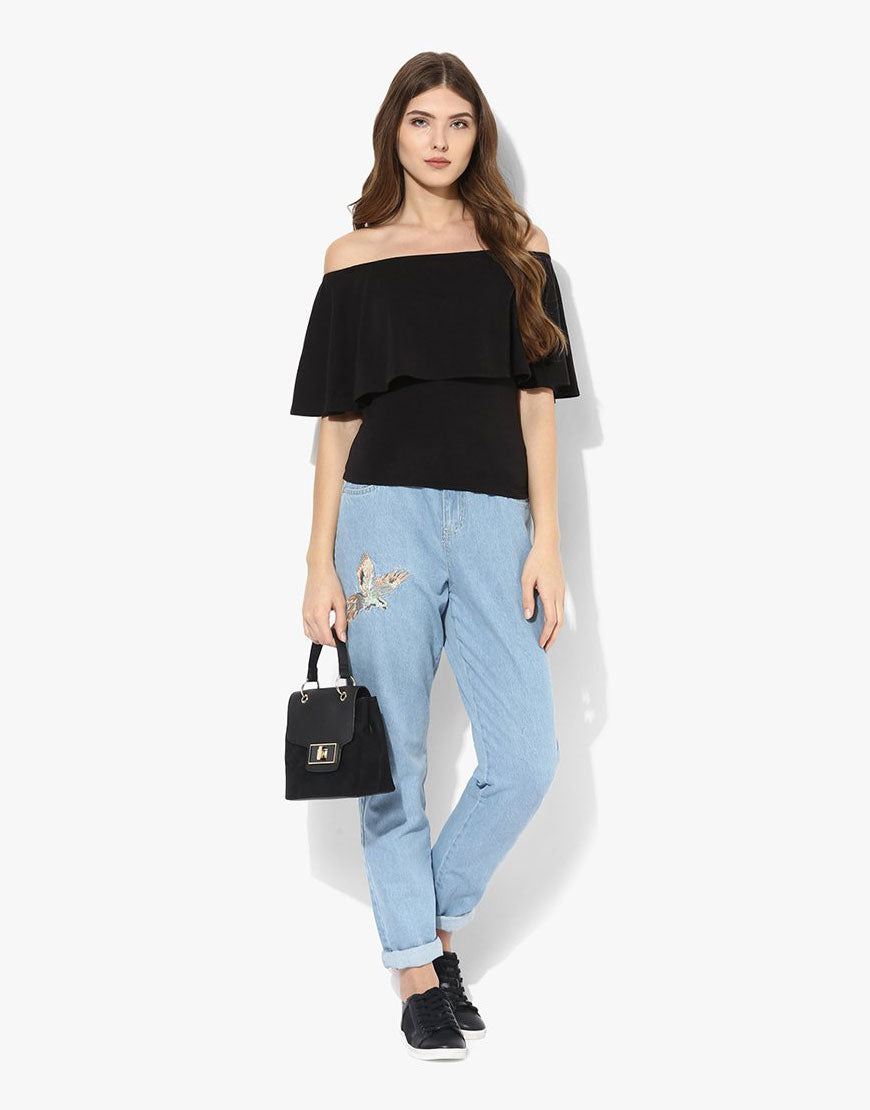 Black Viscose Jersey Off Shoulder Top