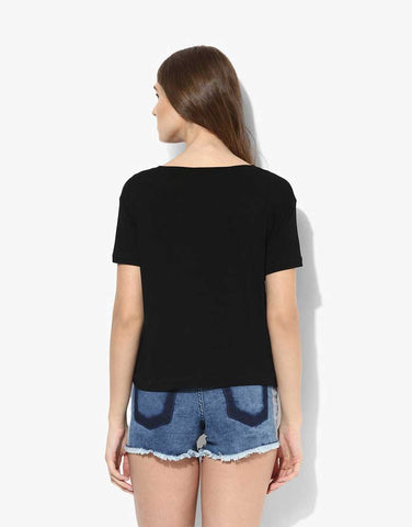 Black Viscose Jersey Printed Short Sleeve Tee