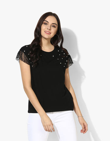 Black Viscose Jersey Short Sleeve T-Shirt