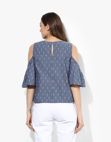 Blue Cotton Cold Shoulder Top