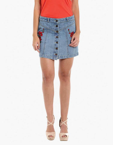 Blue Denim Buttoned Down Skirt With Embroidery