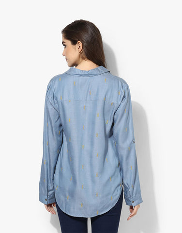 Blue Denim Full Sleeve Western Wear Shirt For Women