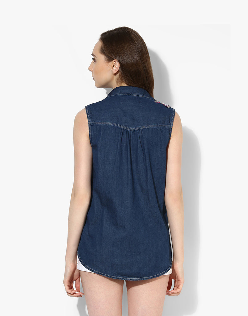 Blue Denim Sleeveless Shirt