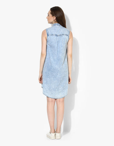 Blue Denim Sleeveless Shirt Dress