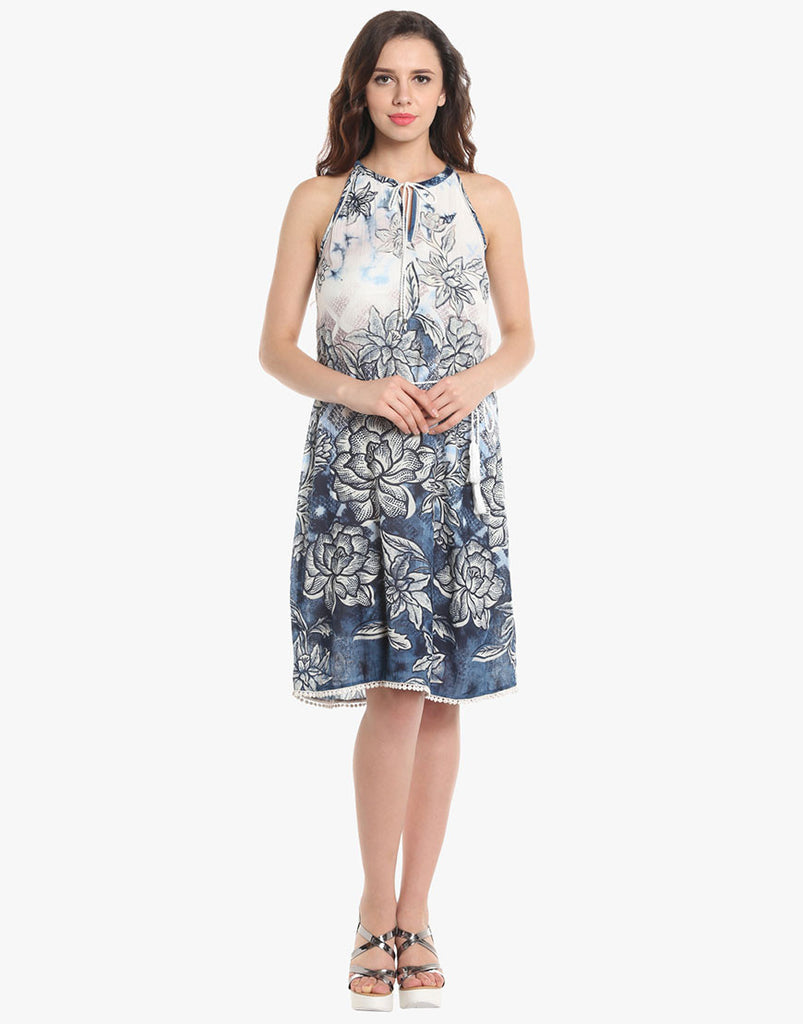 Blue Floral Rayon Dress