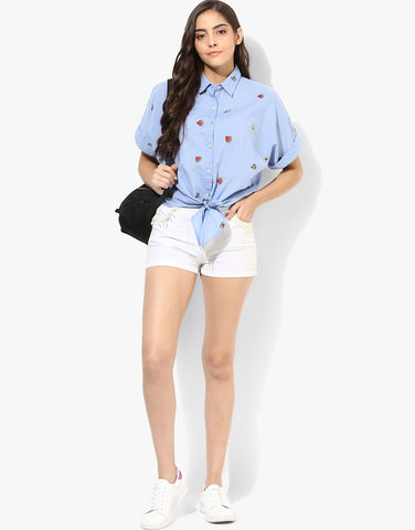 Blue Fruit Print Front Tie Shirt
