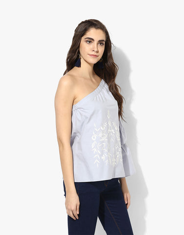 Blue Poplin  One Shoulder Top