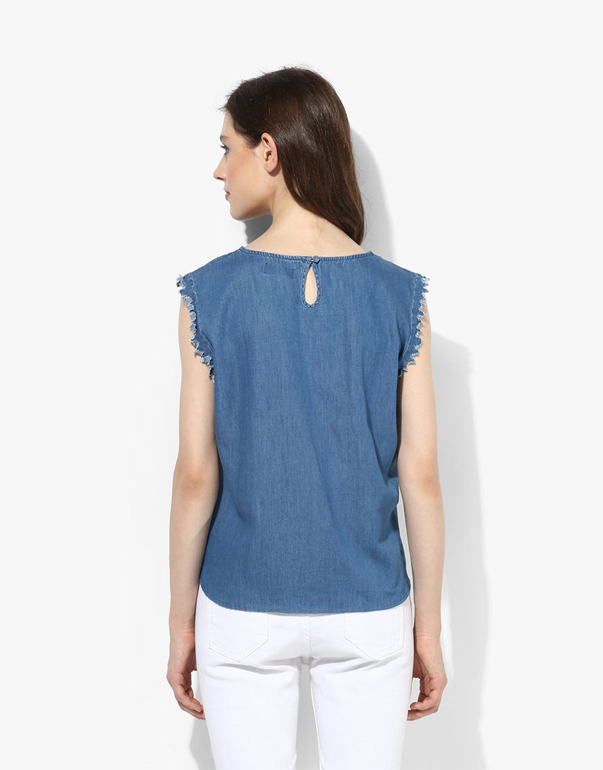 Blue Sleveeless Denim Top