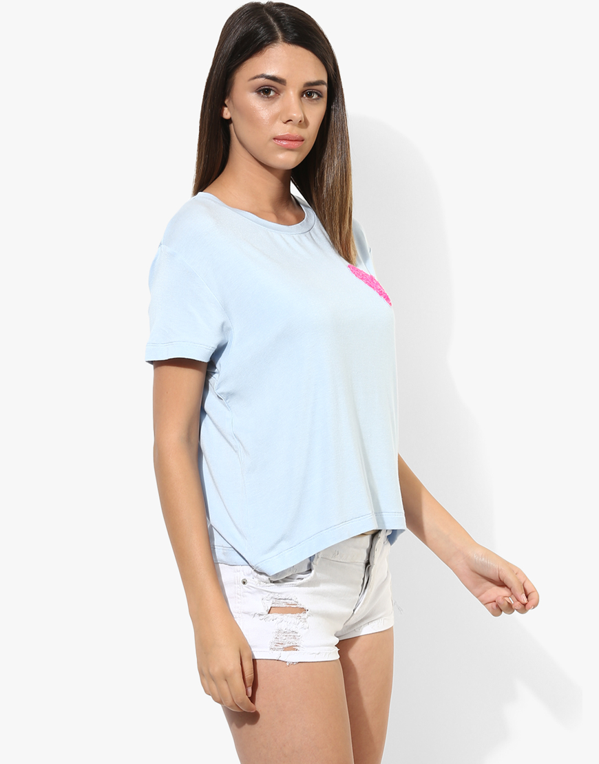 Blue T-Shirt With Sequin Heart Patch