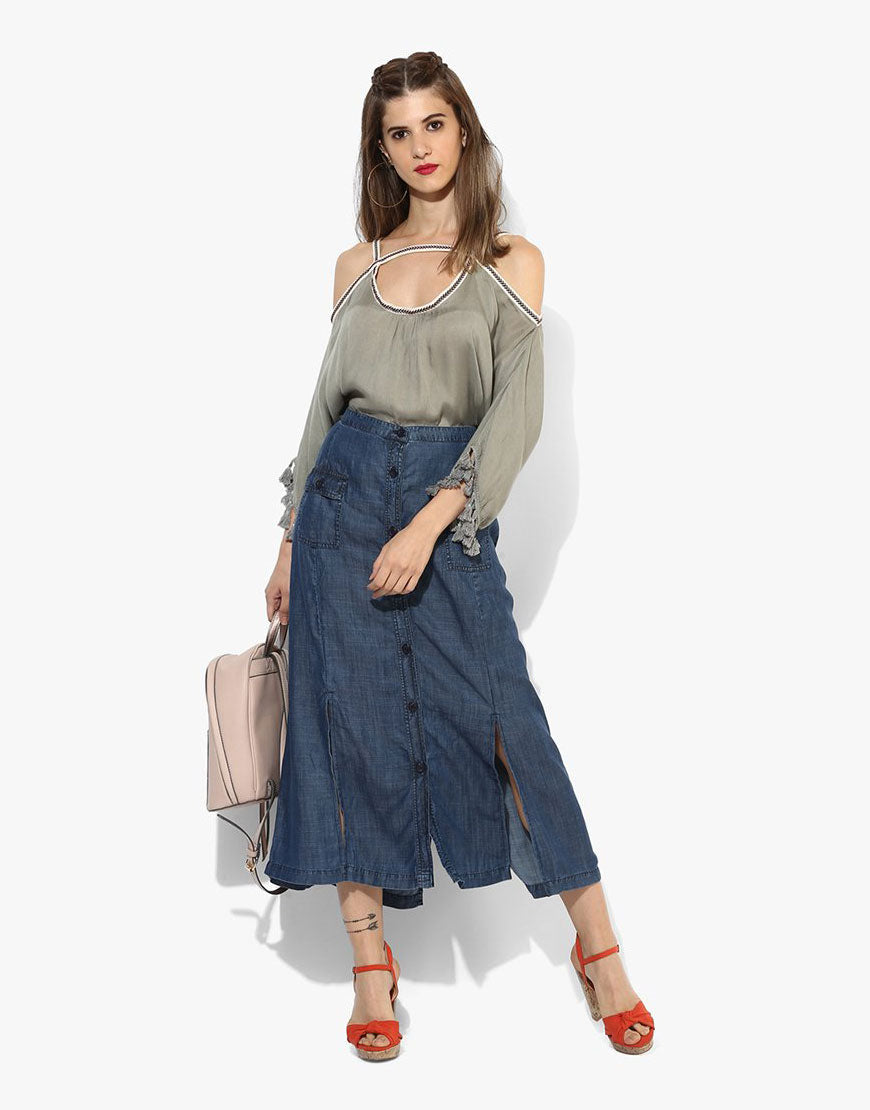 Blue Tencil Denim Long Skirt