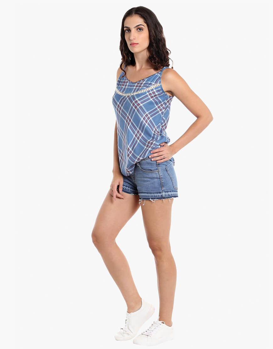 Blue Viscose Plaid Strappy Top
