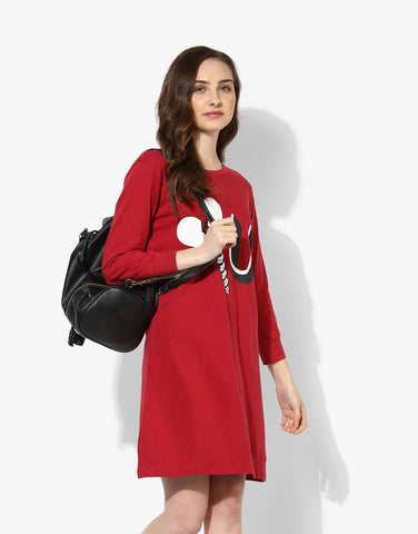 938a03c6243 Burgundy Looper Knit Printed Sweatshirt Dress Burgundy Looper Knit Printed  Sweatshirt Dress