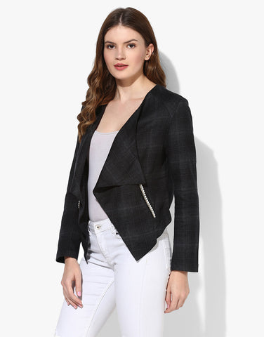 Charcoal Waterfall Jacket With Pearl Lace