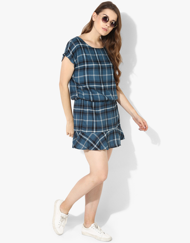 Check Dress With Elasticated Drop Waist