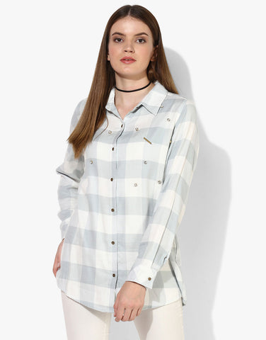 Checkered Shirt With Jewel And Studs