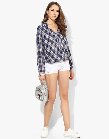 Checkered Wrap Shirt