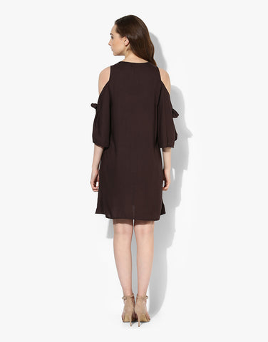 Coffee Brown Rayon Embroidered Shift Dress Online Shopping