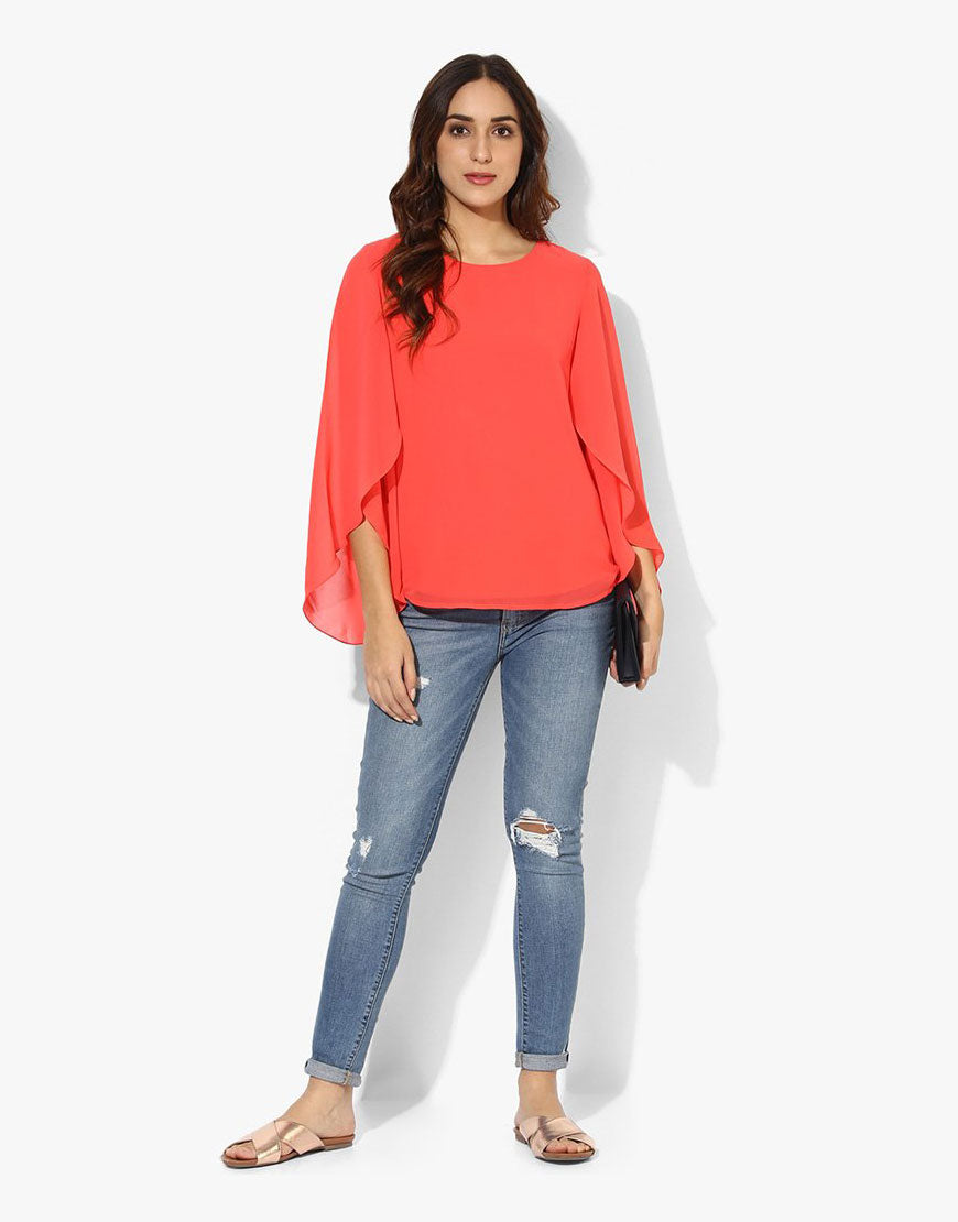 Coral Georgette Full Sleeve Top