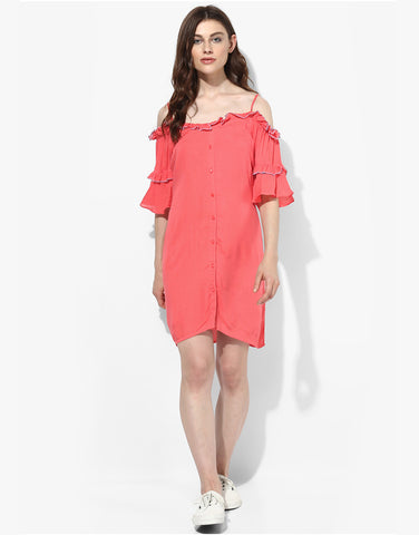Coral Off Shoulder Shirt Dress