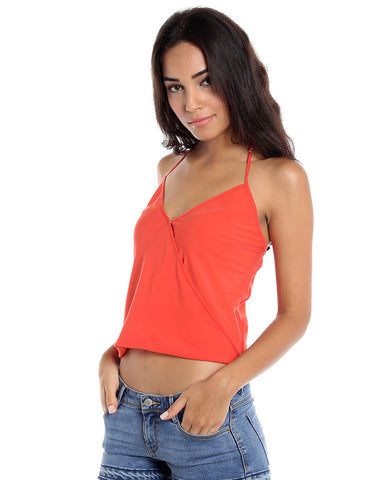 Coral Polyester Crossover Halter Top