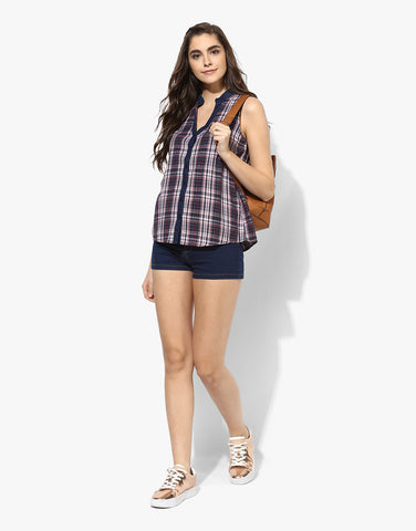 Multi Cotton Checks Sleeveless Shirt For Women Online