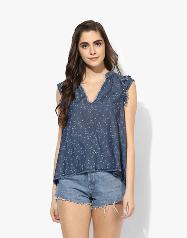 Denim Bird Printed Frayed Top