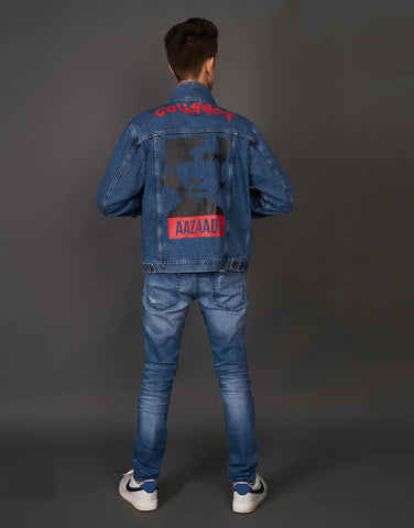 Denim Blue Jacket with Gully Boy/Ranveer/Aazaadi Print