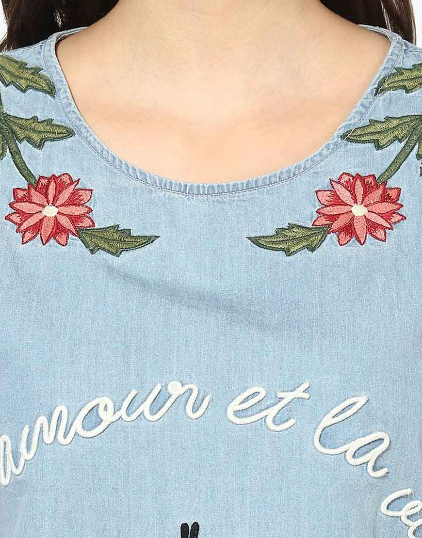 Denim Embroidered Frayed Top