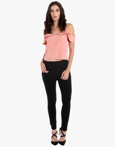 Dull Rose Poly Satin Crop Top