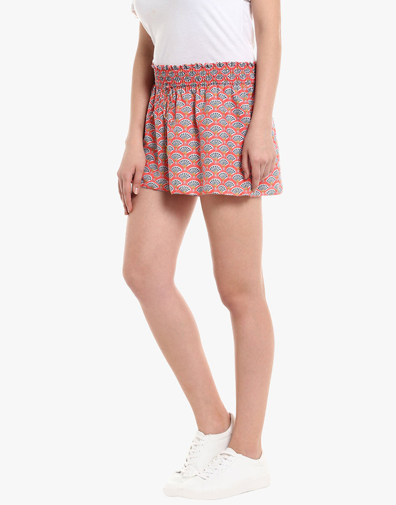 Fan Print Crepe Shorts