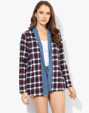 Frayed Checkered Jacket With Denim Lapel